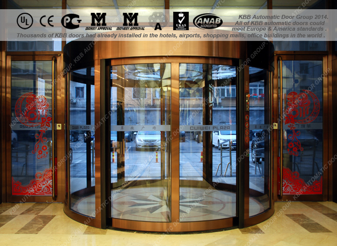Hotel Entrance Doors : Kbb automatic glass revolving door with wings ul csa ce