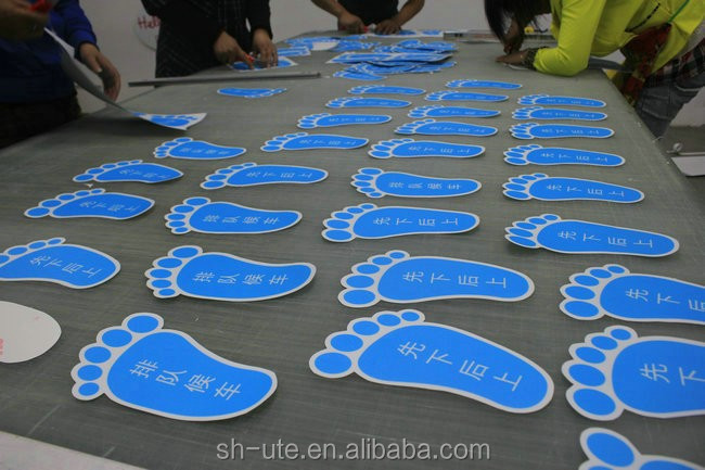 Die cut vinyl floor decal stickers footprints buy floor for Floor stickers