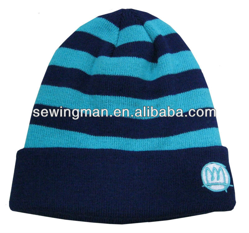Child stripe knitting hat beanie with cuff and custom logo toque