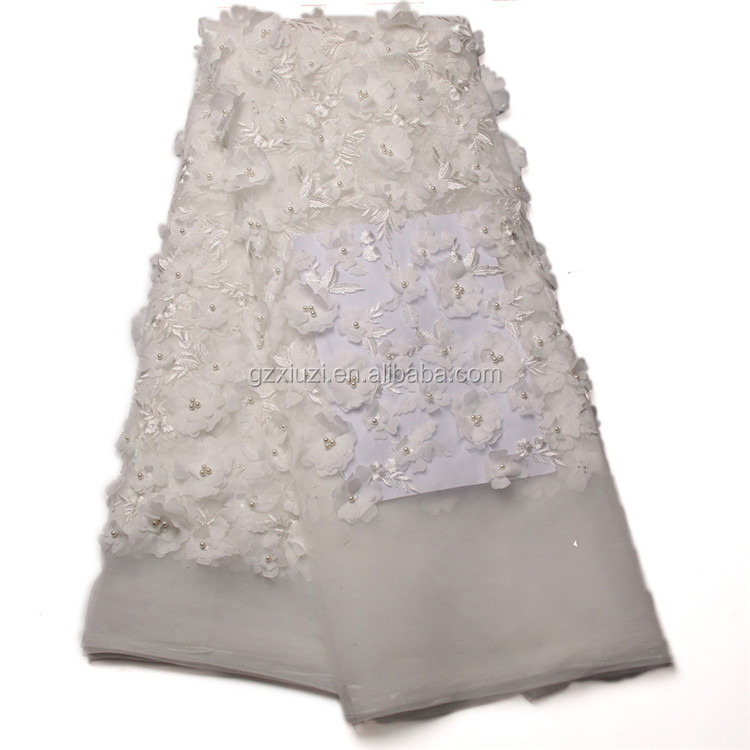 New Arrival French Lace Fabrics 3D Flower Lace Fabrics Wholesale Beaded Lace For Wedding