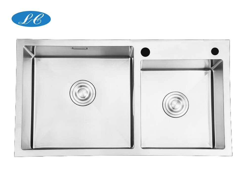 American universal undermount hand made double bowl stainless steel kitchen sink with drainer
