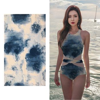 Popular cute waterproof 4 way stretch 85 nylon polyester 15 spandex knitted blue spandex swimwear fabric