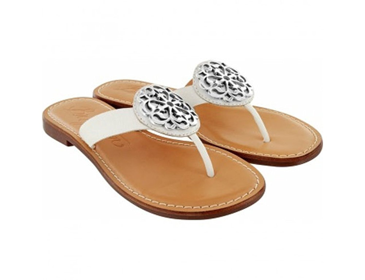 9982f80953585 Get Quotations · Brighton White   Silver Ferrara Alice Leather Thong Sandals