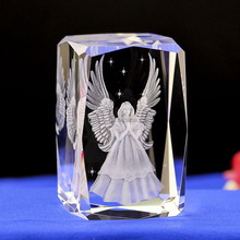 3 D Laser engraving angel micro crystal glass cube souvenirs home decoration glass decorative arts and crafts