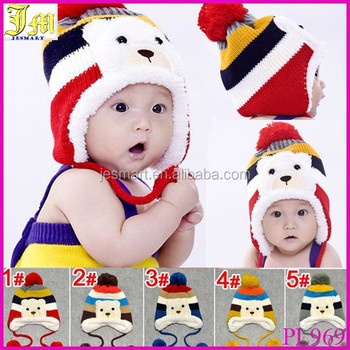 New Cute Fashion Warm Cap Winter Animal Hats For Baby Earflaps Velvet  Thickening Crochet Knitted Boy 66583ca73801