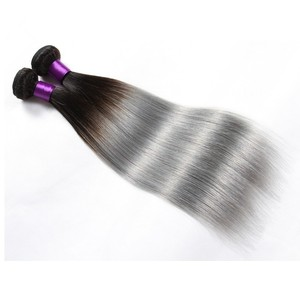 Good feedback 8-30 inches 100% human hair weave grey and black ombre hair extensions for sale