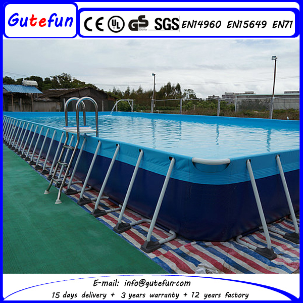 2015 rectangular freestanding backyard above ground flooring metal frame folding swimming pool for Large above ground swimming pools