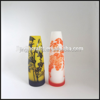 Yellow And Red Cone Shaped Hand Cut Etched Mini Bud Glass Vase Buy