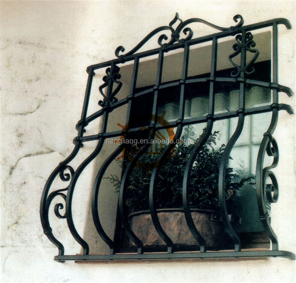 2017 wrought/rod iron window grill design burglar HL-I-W-203