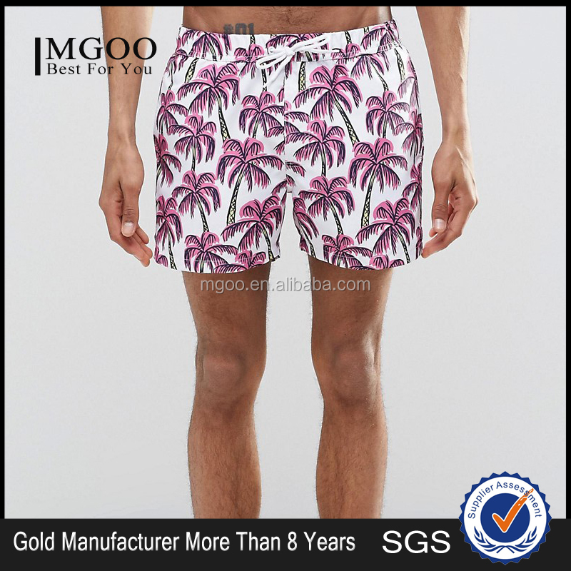MGOO 2016 Manufacturer Wholesale Mens Swimwear Custom Boardshorts For Male With Back Pockets Print