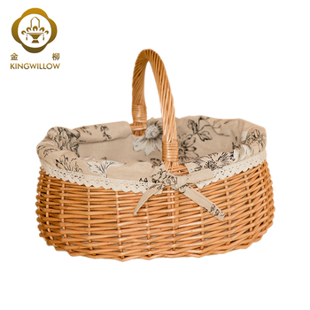 2018 handmade wicker woven storage basket with handle