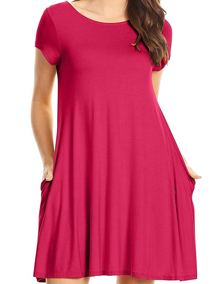 Casual High Quality T Shirt Women Color Variety Dress For Women Flower Tunic Ladies Dress with Pockets Reg and Plus Size Skirt