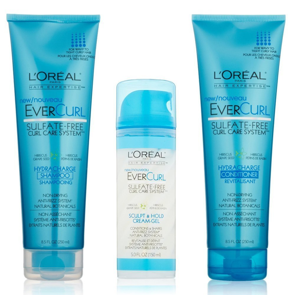 L'Oreal Paris EverCurl Hydracharge Shampoo, Conditioner, and Sculpt & Hold Cream-Gel