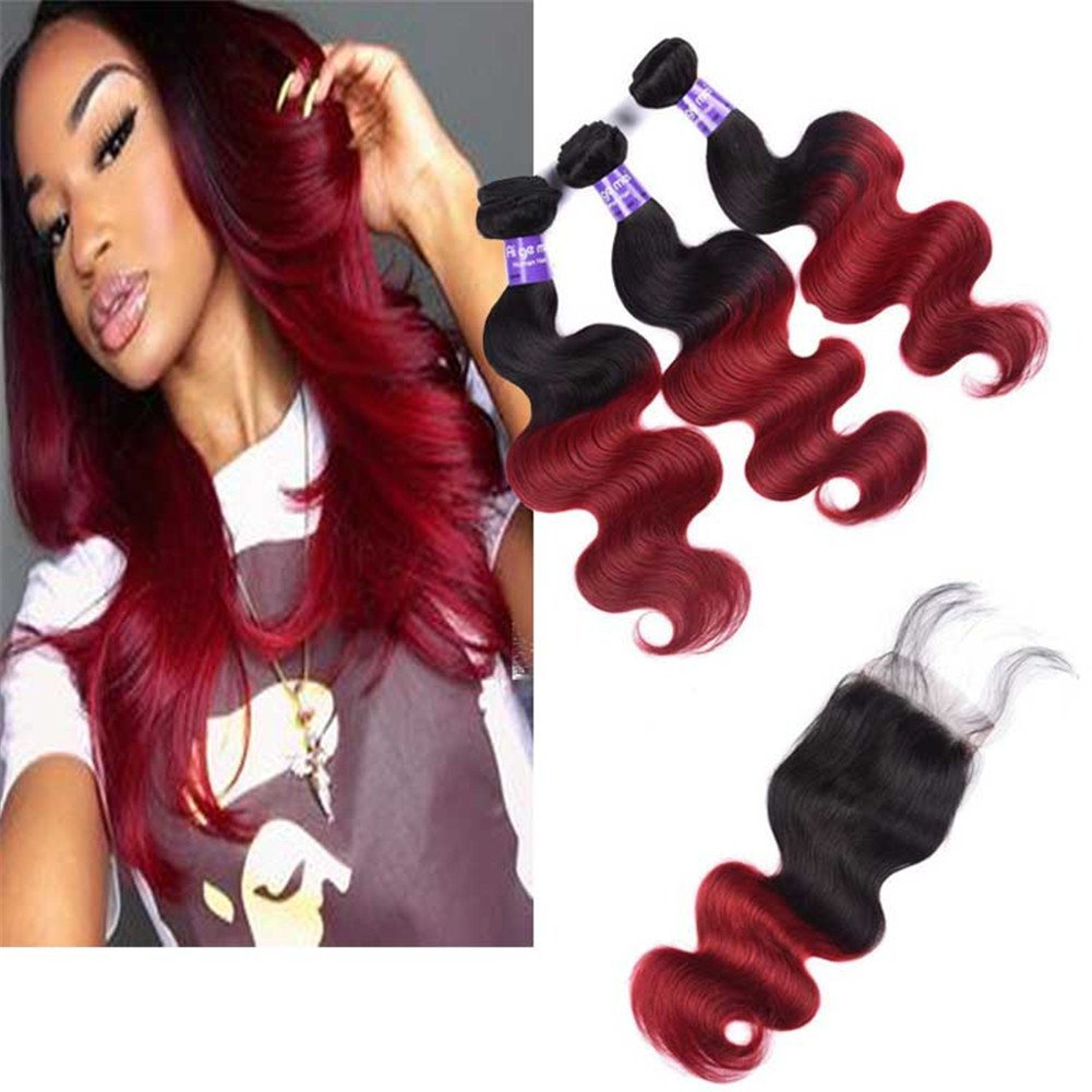 """Top Hair Brazilian Ombre Hair 3 Bundles 300 gram 16""""18""""20"""" & Closure 18"""" Ombre Burgundy Hair Extensions Black to Red & Invisible Lace Closure Natural Virgin Remy 100% (Ombre 1B/Burgundy)"""