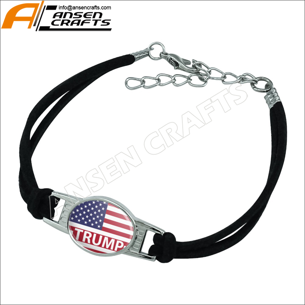 Customs Design American Flag with Trump Epoxy Working Bracelet