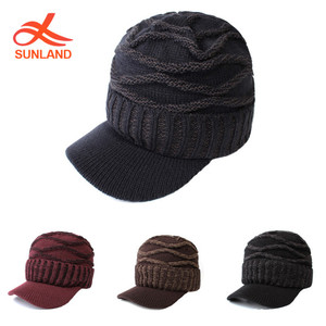 6e78ee666a6 W2587 Warm Cable Ribbed Knit Beanie Hat Visor Brim Chunky Winter Skully Cap