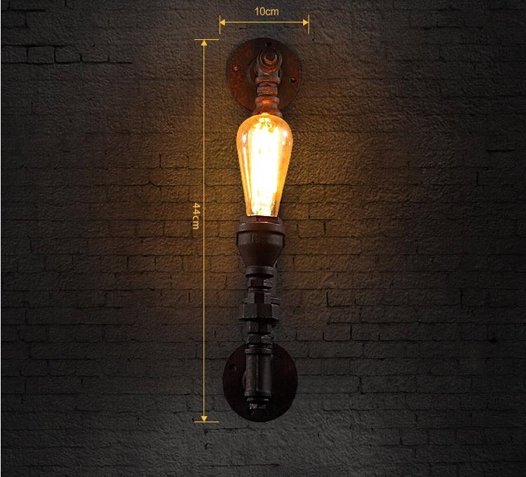Modern Loft Vintage Wall Light Water Pipe Bar Rustic Iron Metal ...