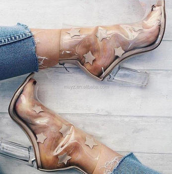9ffbe061d35 L1210A Whoelsale Clear Translucent Transparent Peep Toe Ankle bootie Perspex  Block Heel Stars Boots