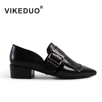 fca356533b3c VIKEDUO Hand Made New Collection Shopping Online Store Black Low Heels  Genuine Leather Shoes Women Ladies