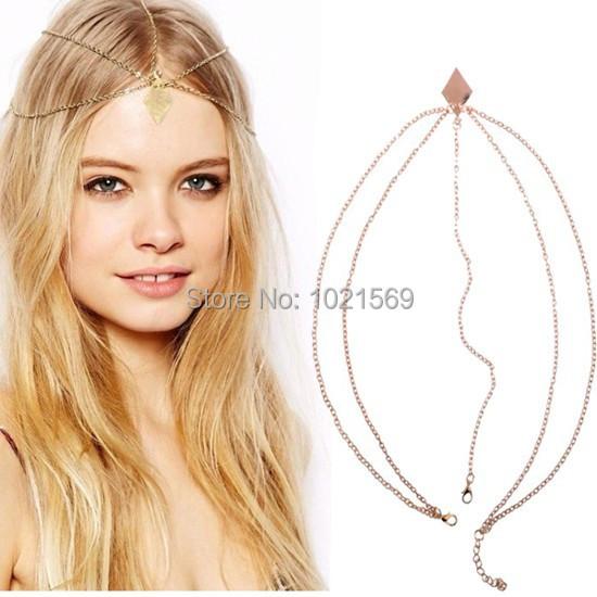 Get Quotations Head Chain Rhombus Circular Gold Hair Wedding Dress Boho Headpiece Accessory Jewelry