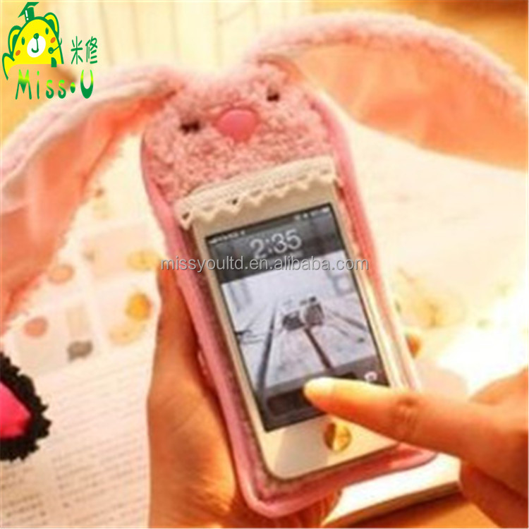Wholesale High Quality Rabbit Plush Material Mobile Phone Cover