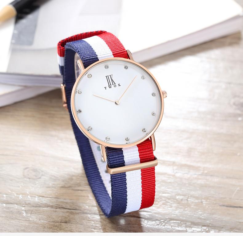 IIKTWOK Men Simple Leather Nato Strap Custom logo Quartz Wristwatches