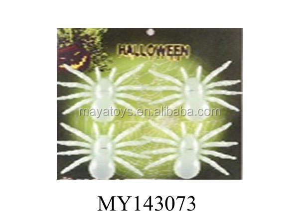 High quality halloween toys luminous spider glow in dard 4pcs/card