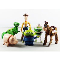 loose Movie Anime 6pcs Toy Story Buzz Light Year/Woody Transformation Capsule Toy Action figure