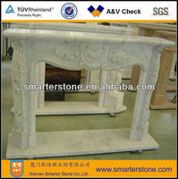 White Marble Tile Fireplace Surround