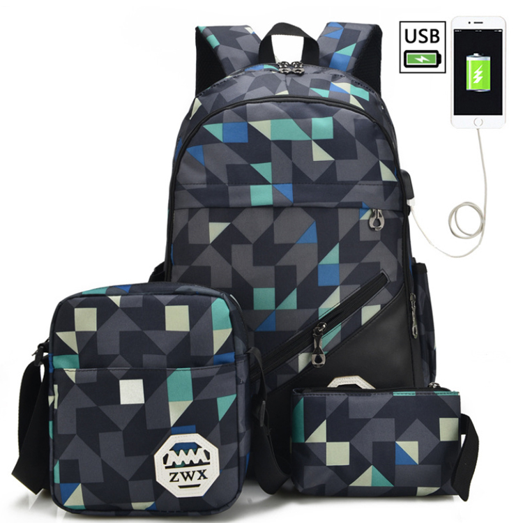Osgoodway2 2019 New Arrivals 3 in 1 Navy Blue Teens Backpack School Bags Set