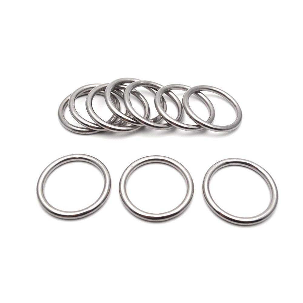 Sydien 304 Stainless Steel Round Ring 10Pcs 40mm Inner Diameter and 5mm Thickness