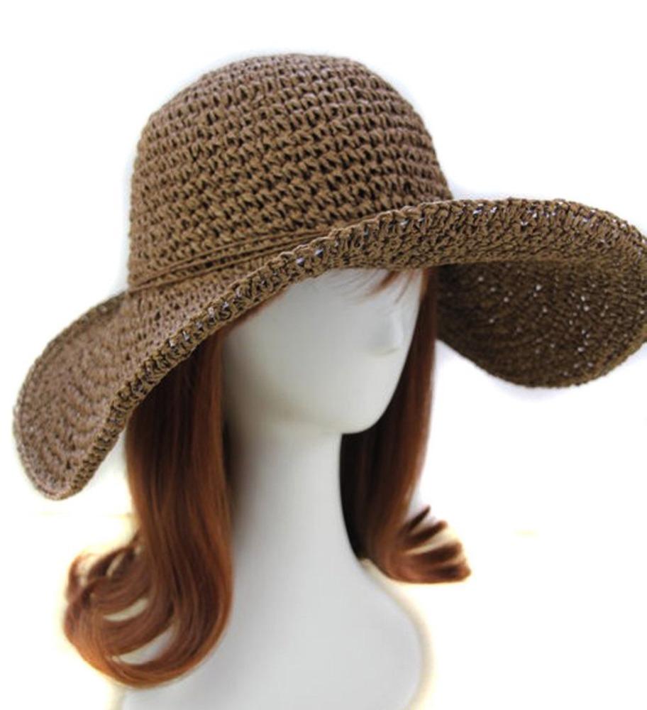 cf6e893155c29 Retro Women Ladies Wide Brim Roll-up Crocheted Hats Bohemia Straw Sun Hat  for Holiday Travel Beach