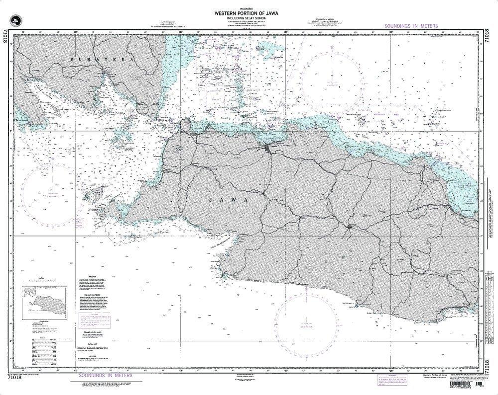 NGA Chart 71018WP: Western Portion Of Jawa; 34.5 X 43; WATERPROOF