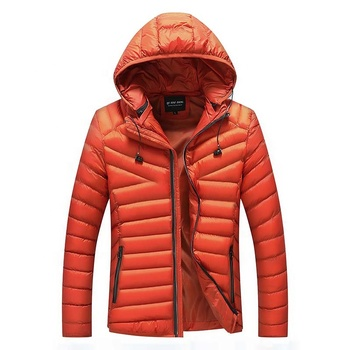 Wholesale Detachable Hood Light Orange Padded Puffer Men Winter Wear Jacket