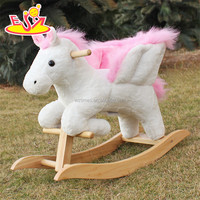 2018 new design toddlers pink wooden plush rocking horse W16D072