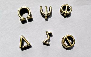 china supplier antique gold 10mmx6mm slide greek letter beads
