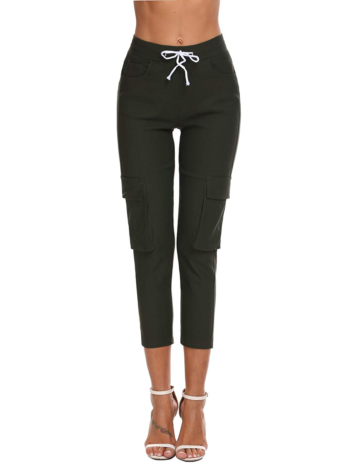 M/&S/&W Womens Solid Color Stretch Drawstring Casual Skinny Pants