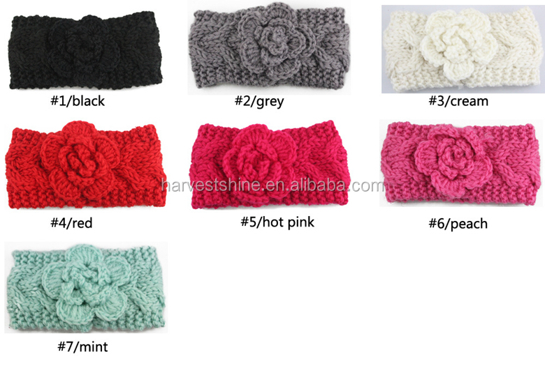 Braided Knit Headband,Crochet Headband Pattern With Flower,Winter Turband Headband For Children