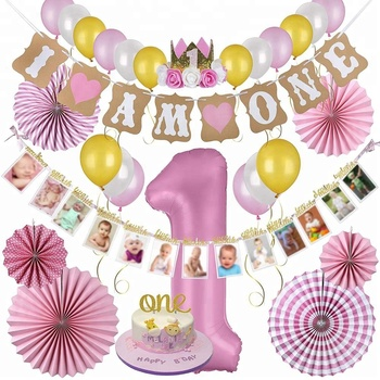 1st Birthday Decorations Monthly Milestone Banner Cake Topper Hat Balloons Pink Paper Fans For