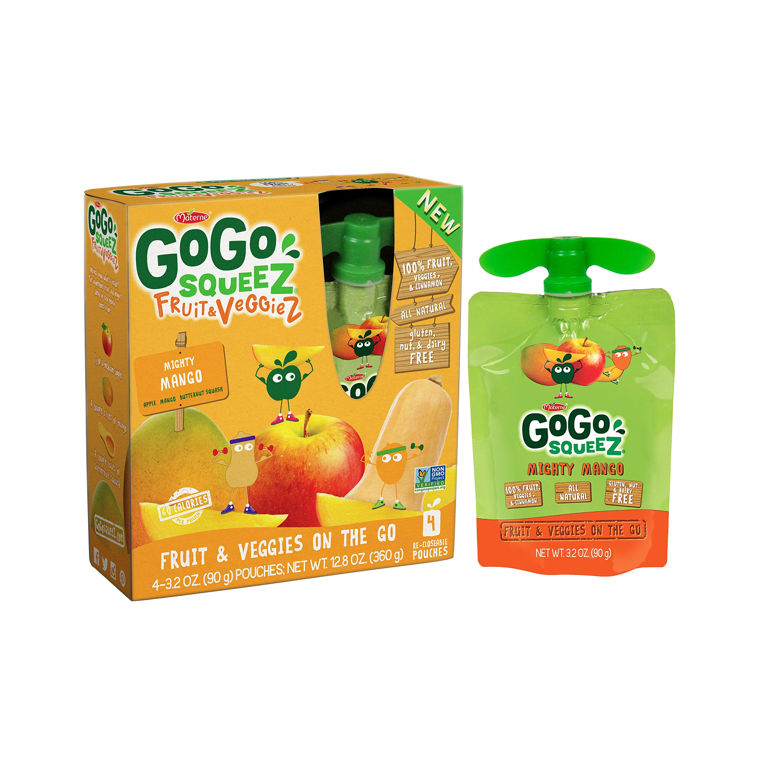 GoGo SqueeZ Fruit & VeggieZ on the Go, Apple Mango Butternut Squash, 3.2 Ounce Portable BPA-Free Pouches, Gluten-Free, 48 Total Pouches (12 Boxes with 4 Pouches Each)
