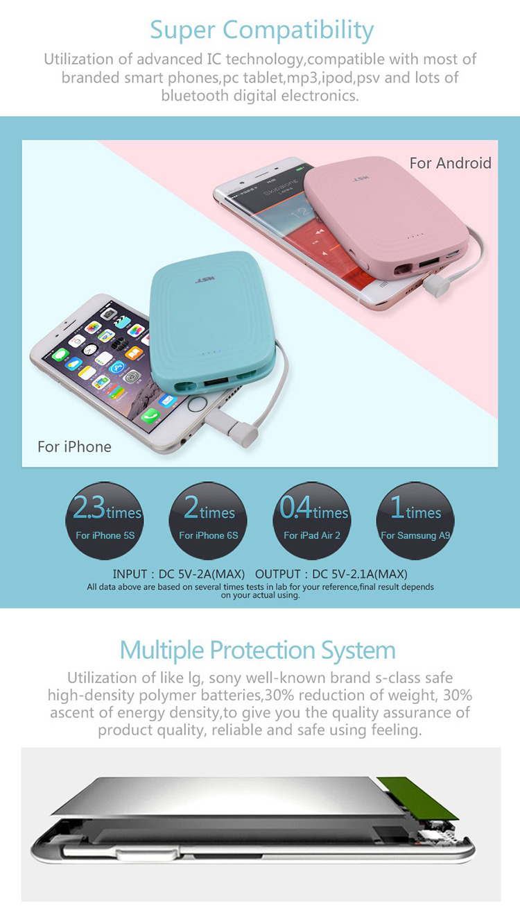 Mobile accessories built in cable fashionable 5000 mah power banks universal