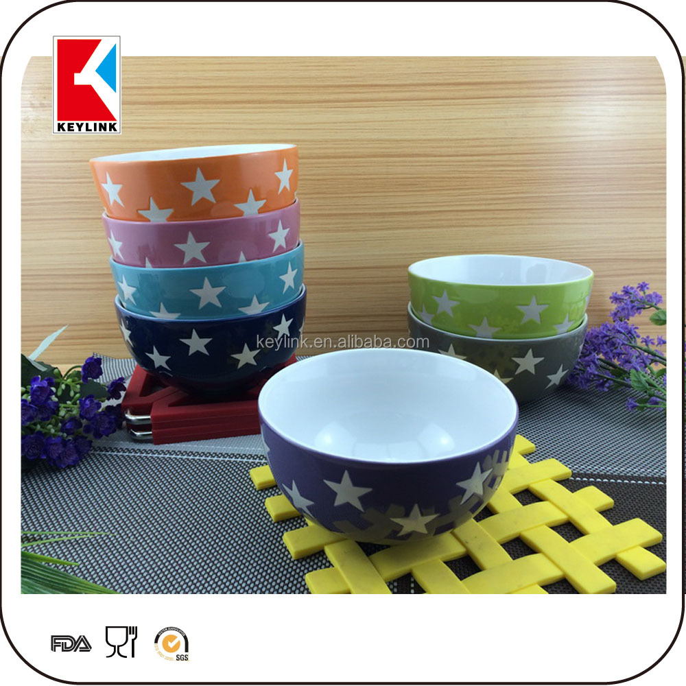 Popular Ceramic Cereal Bowl With Star Logo Printed Soup Bowl ...