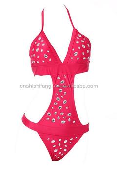 d4a3892c53 Women s Diamond Sexy Halter One Piece Swimsuit Bikini Bling Rhinestone  Bikini Strapless Top Swimsuit Bathing suit