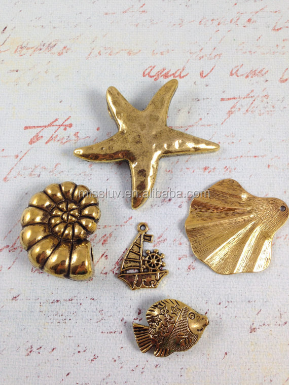 vintage metal ocean sea theme charms Nautical beach theme jewelry charms starfish seahorse turtle dolphin anchor seafish Octopus