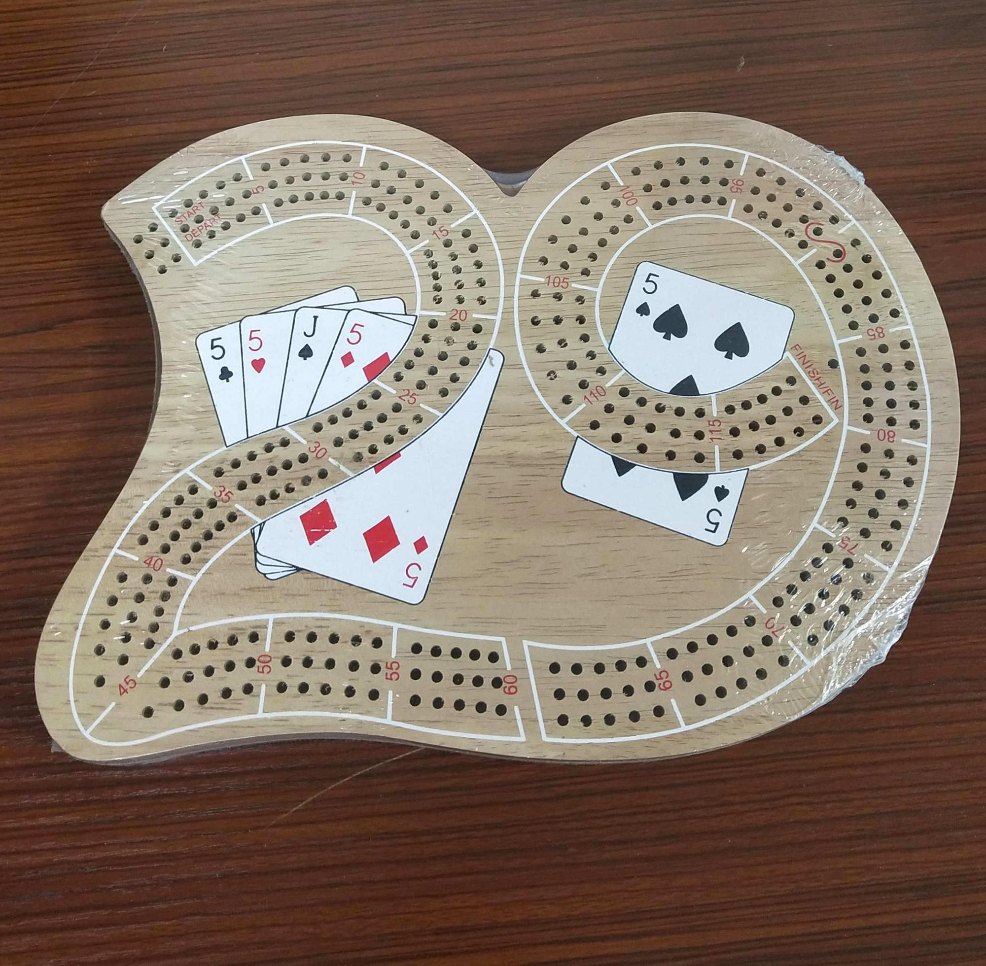 Customized wholesale wooden cribbage board and cribbage pegs