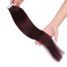 Hoge Kwaliteit Remy Tape Hair Extensions 99j Bourgondië Straight Braziliaanse Huid Inslag Human Tape <span class=keywords><strong>Haar</strong></span>