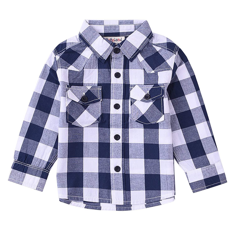 MOMOLAND Baby Kids Boys Short Sleeve Woven Check Plaid Shirts Blue