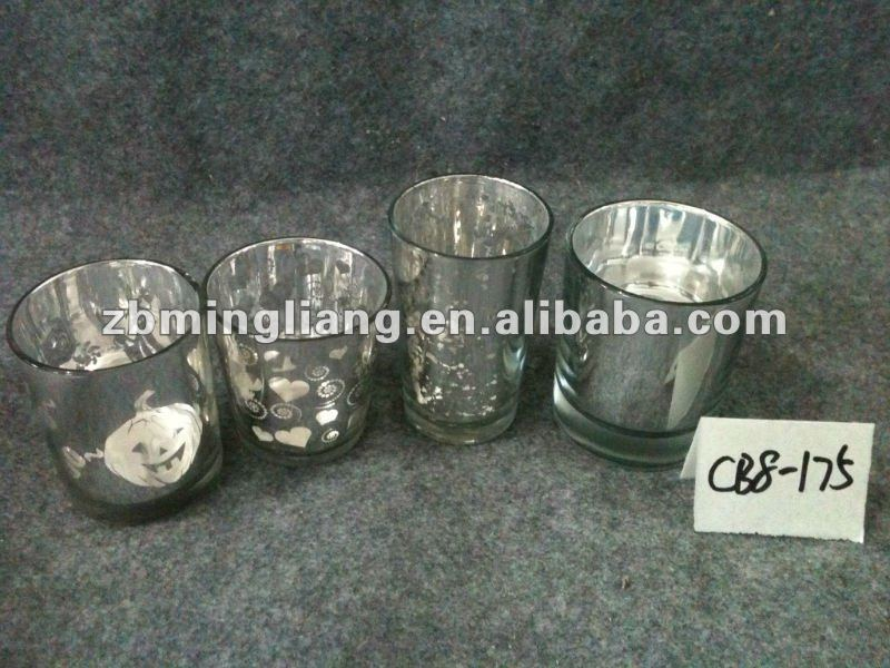 silver plating glass candle holders