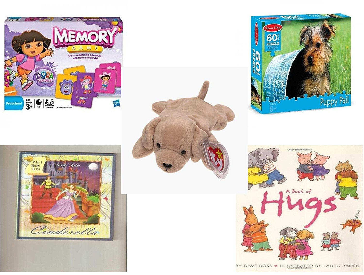 Children's Gift Bundle - Ages 3-5 [5 Piece] - Dora The Explorer Edition Memory Game - Melissa & Doug Terrier Puppy Pail 60 Piece Puzzle Toy - Ty Beanie Baby - Fetch the Golden Retriever Dog - 2 in 1