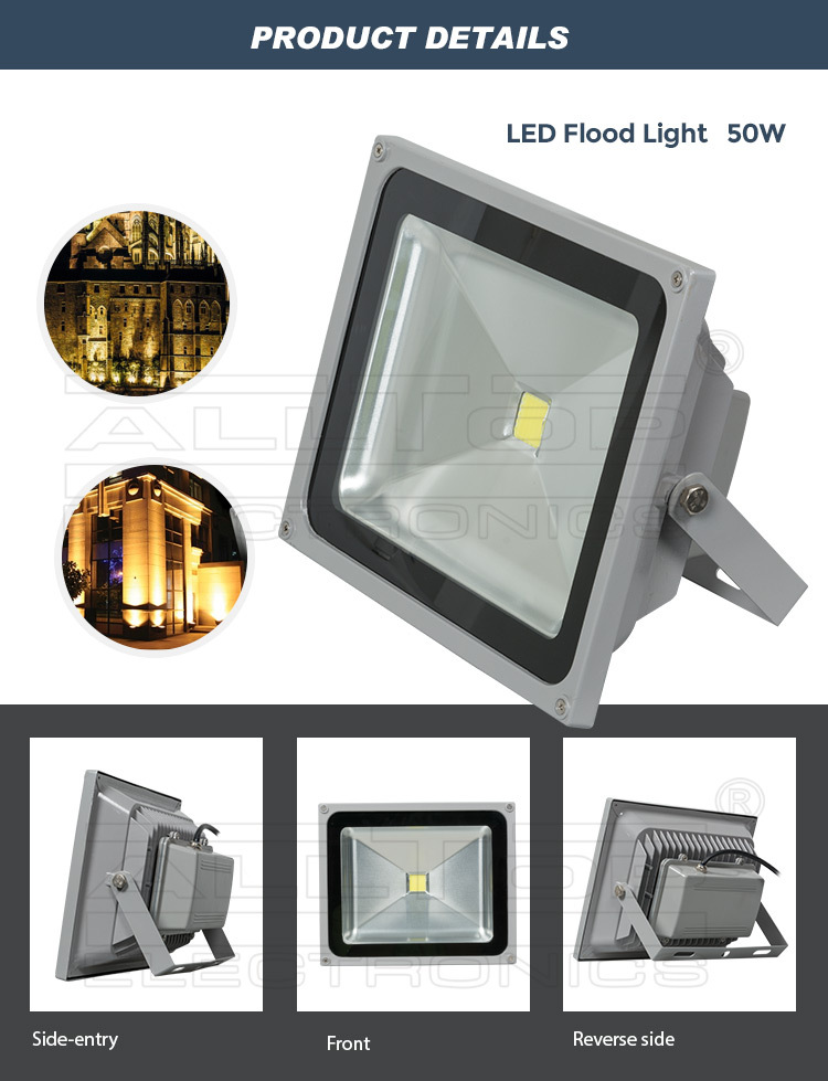 Waterproof cob aluminum 50w led rechargeable floodlight